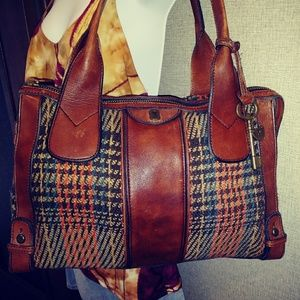 FOSSIL VINTAGE REISSUE BAG PLAID AND LEATHER